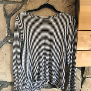 Forever 21 Long Sleeve Striped Open Back Shirt